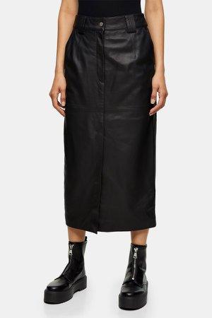 Black Leather Western Skirt