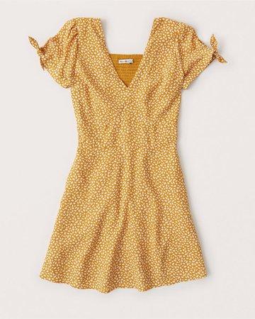 Tie-Sleeve Mini Dress