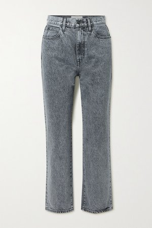 London Cropped High-rise Straight-leg Jeans - Gray