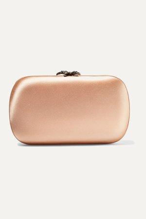 Peach Broadway crystal-embellished satin clutch | Gucci | NET-A-PORTER