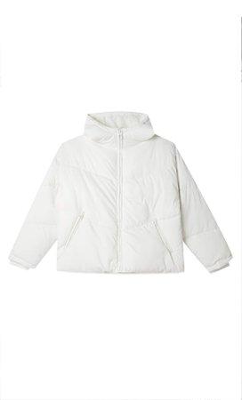 white Oversize hooded puffer jacket - Women's Just in   Stradivarius United States