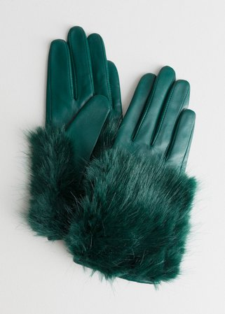 Faux Fur Leather Gloves - Green - Leather gloves - & Other Stories