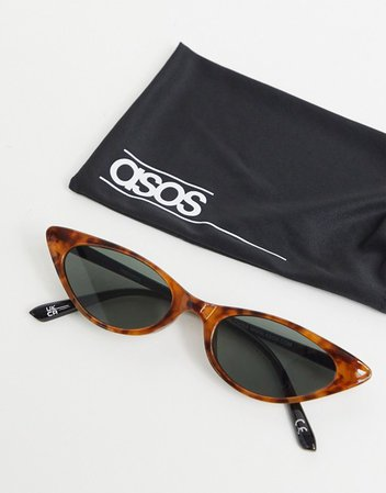 ASOS DESIGN cat eye sunglasses in tort with shiny black arms | ASOS