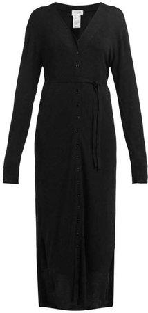 Buttoned Cardigan Dress - Womens - Black