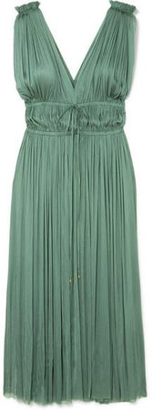 Elena Makri - Vereniki Pleated Silk-tulle Midi Dress - Green