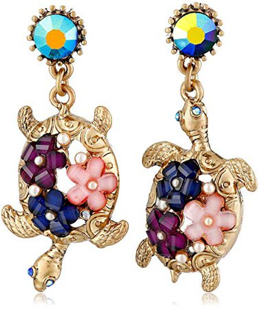 """Betsey Johnson """"Into The Blue"""" Turtle Mismatch Drop Earrings: Clothing"""