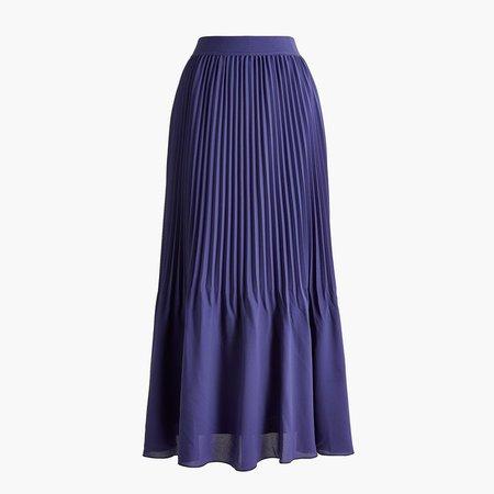 Elastic-waist pleated midi skirt