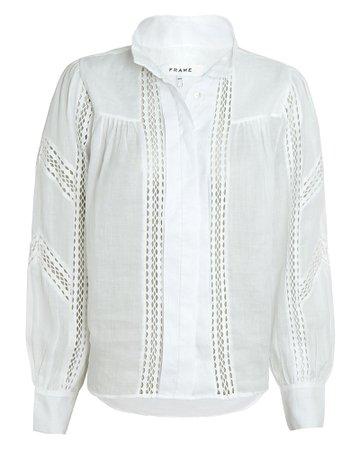 FRAME Panel Lace Button-Up Blouse   INTERMIX®