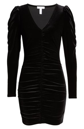 Leith Velour Ruched Long Sleeve Minidress | Nordstrom
