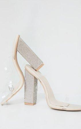 Nude Clear Strap Block Flat Diamante High Heels | PrettyLittleThing USA