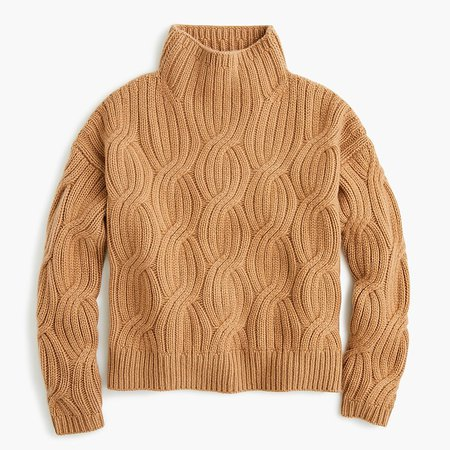J.Crew: Collection Cashmere Cable-knit Turtleneck brown