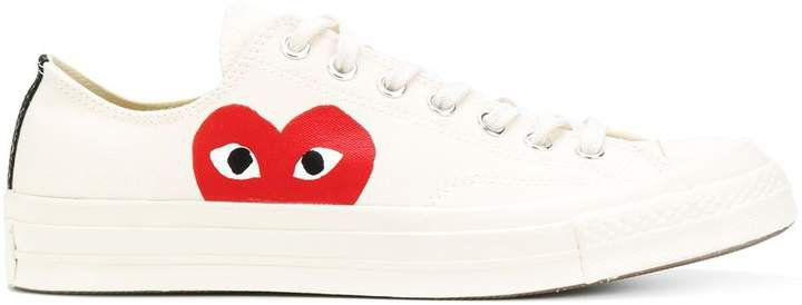 Heart Print Lace-Up Sneakers