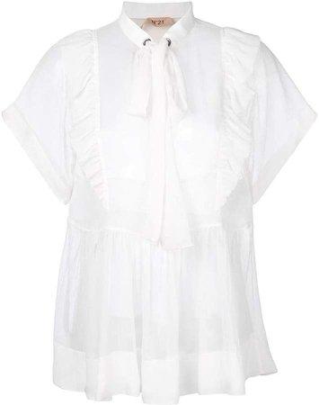 pussy-bow ruffled blouse