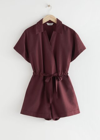 Drawstring Waist Lyocell Jumpsuit - Dark Red - Jumpsuits & Playsuits - & Other Stories