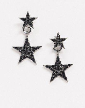 ASOS DESIGN front and back earrings in black crystal star design | ASOS