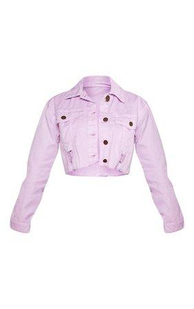 Petite Lilac Raw Edge Cropped Denim Jacket | PrettyLittleThing