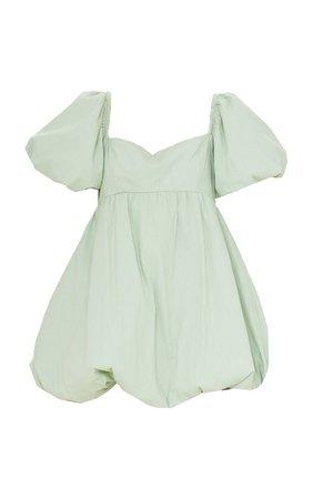 Sage Green Puff Sleeve Puffball Dress | PrettyLittleThing USA