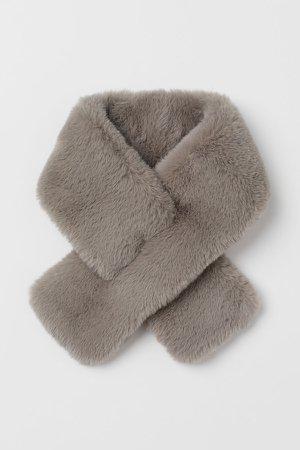 Faux Fur Scarf - Gray