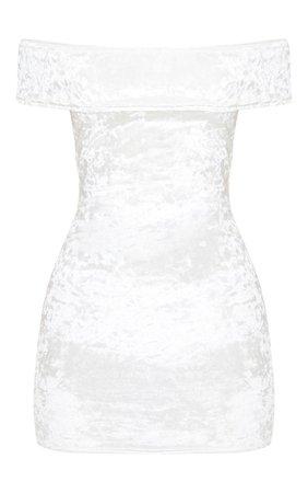 White Crushed Velvet Bardot Bodycon Dress   PrettyLittleThing USA
