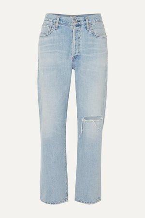 Light denim McKenzie distressed mid-rise straight-leg jeans | Citizens of Humanity | NET-A-PORTER