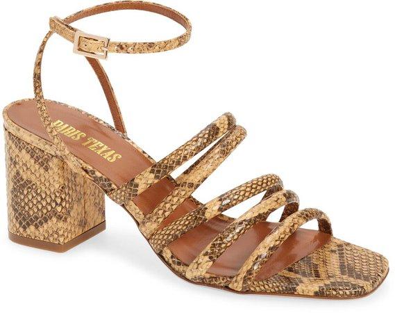 Carla Snake Embossed Ankle Strap Sandal