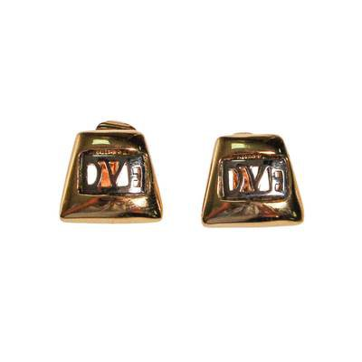 DVF Logo Earrings, Silver and Gold - Vintage Meet Modern