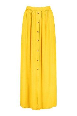 Gathered Waist Floor Sweeping Maxi Skirt | boohoo yellow