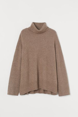 Wool-blend Turtleneck Sweater - Dark beige - Ladies | H&M US