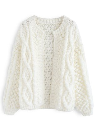 Wintry Morning Cable Knit Cardigan in White - Retro, Indie and Unique Fashion