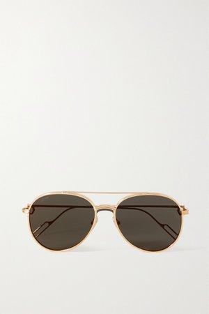 Gold Première de Cartier aviator-style gold-tone sunglasses   CARTIER EYEWEAR   NET-A-PORTER