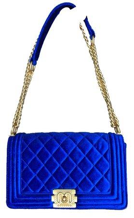 Blue Velvet Chain Bag