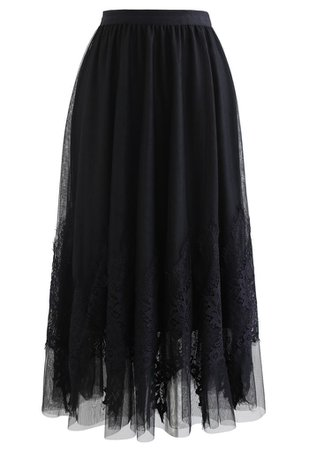 Tassel Lace Double-Layered Tulle Mesh Skirt in Black - Retro, Indie and Unique Fashion
