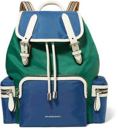 Leather-trimmed Shell Backpack - Blue