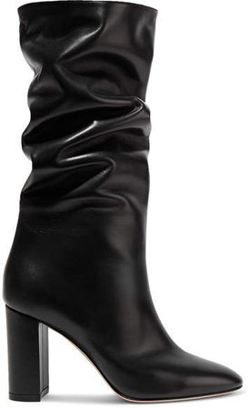 Laura 85 Leather Knee Boots - Black