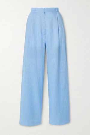 Ainsley Linen Wide-leg Pants - Light blue