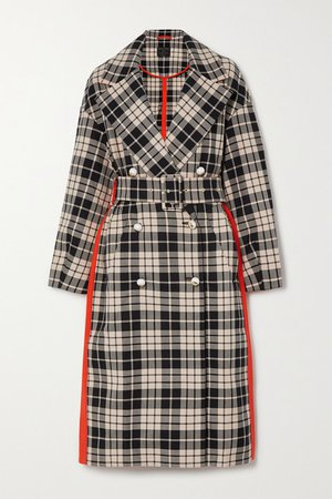 Belted Double-breasted Checked Organic Cotton-twill Coat - Orange