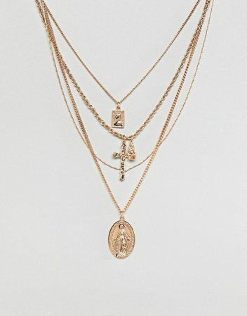 ASOS DESIGN | ASOS DESIGN multirow necklace with vintage style icon and cross pendants in gold
