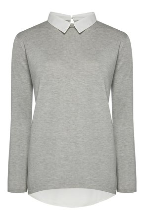 grey collared sweater shirt