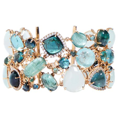 Multi-Shaped Aquamarine, Tourmaline and Diamond Cobblestone Bracelet For Sale at 1stDibs