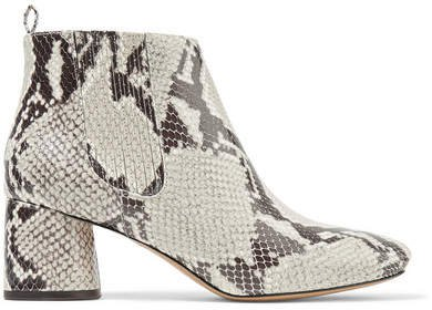 Snake-effect Leather Ankle Boots - Snake print