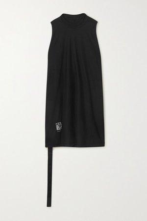 Appliqued Cotton-jersey Tank - Black
