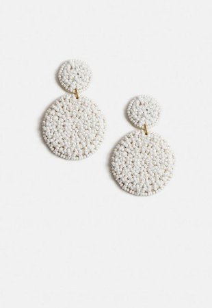 White Beaded Disc Drop Earrings | Missguided