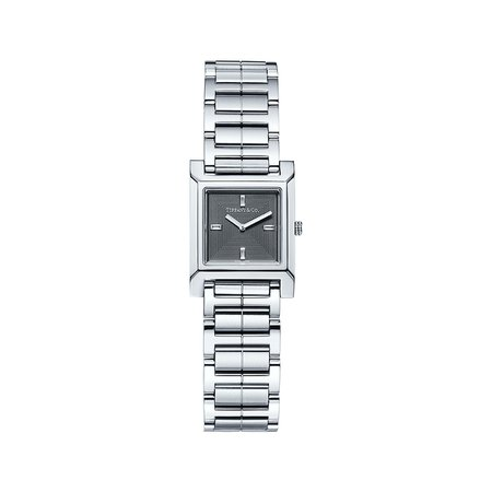 Tiffany 1837 Makers 22 mm square watch in stainless steel with a dark gray dial. | Tiffany & Co.