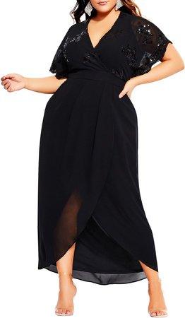 Sequin Bodice Faux Wrap Maxi Dress