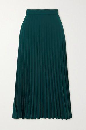 Pleated Crepe Midi Skirt - Green