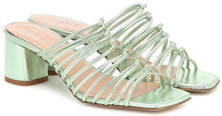 Pearl metallic-leather sandals