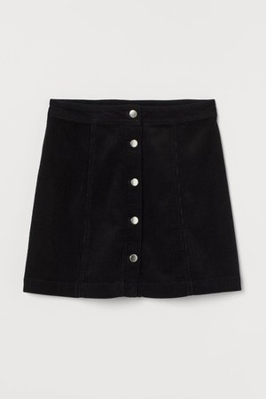 A-line Skirt - Black/corduroy - Ladies | H&M US