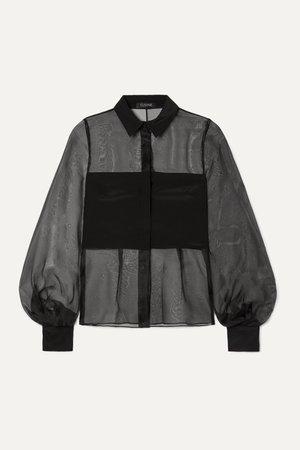 Black Silk-organza and crepe blouse   Cushnie   NET-A-PORTER