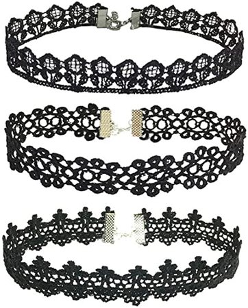 Amazon.com: Manfnee 9PCS Blakc Lace Choker Necklace Set Gothic Tattoo Vintage Lolita Choker for Women: Clothing