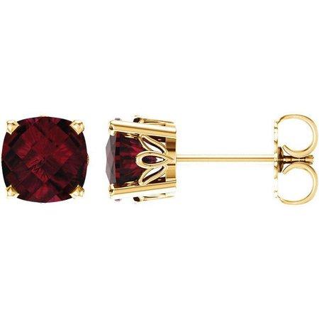 Garnet Stud Earrings In An 18k Gold Leaf Setting with An Antique Garnet and White Gold Earrings - Dot Earrings